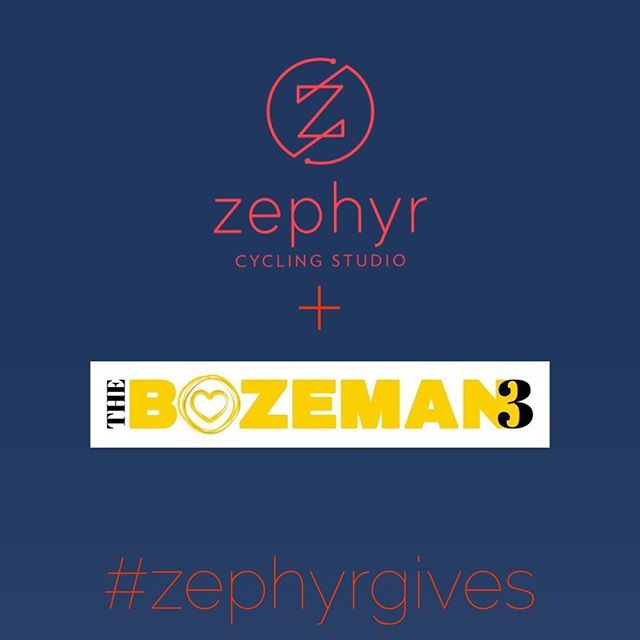 We are thrilled to be partnering with #TheBozeman3 for our first #ZephyrGives ride, occurring next Friday night, June 9, at 5:30. 100% of the proceeds (and good energy) will go to this incredible organization, which supports Gallatin County families who have children with cancer. You can sign up by purchasing a ZephyrGives pass ($18) through MindBody or by reserving your bike and bringing $18 in cash, check, or credit card the day of the ride. Book your spot now and come #pedalforapurpose with us! Link in bio.