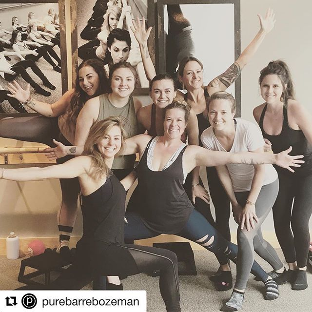 We are so lucky to be partnering with these amazing studios and people!! #regram @purebarrebozeman: Team @purebarrebozeman @ride.zephyr @ekamyogamt killing Platform today! Such a fun crew ️ #trifecta #profitgangstas #community #pbfamily #pbstrong #badasswomen #godfathersoffitness #barremudatriangle #baileycanttuckhertail