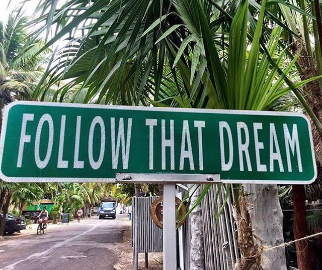 This Tulum street sign definitely points us in the right direction & gives us all the #FriYAY feels! : @ania_bulis #followthatdream